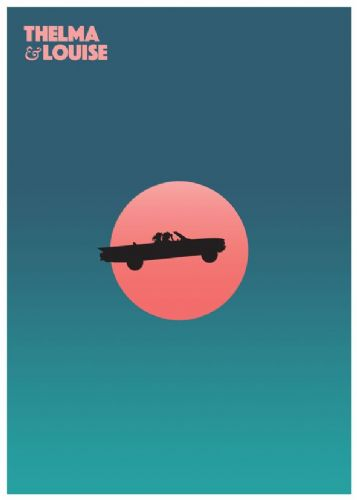 1980's Movie - THELMA & LOUISE MINIMALIST PINK canvas print - self adhesive poster - photo print